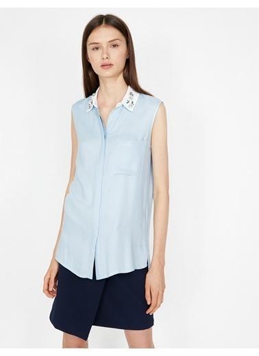 Koton Yaka Detaylı Gömlek Mavi